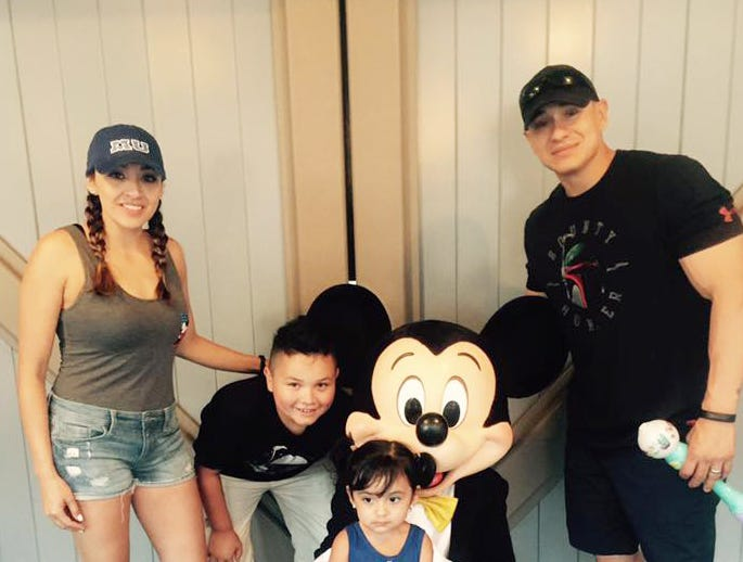 Jovanna and Frank Calzadillas with their kids a month before the shooting at the Route 91 Harvest Festival in Las Vegas.
