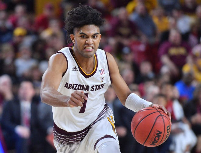 Mar 3, 2018: Arizona State Sun Devils guard Remy Martin (1) dribbles against the Stanford Cardinal during the second half at Wells-Fargo Arena.
