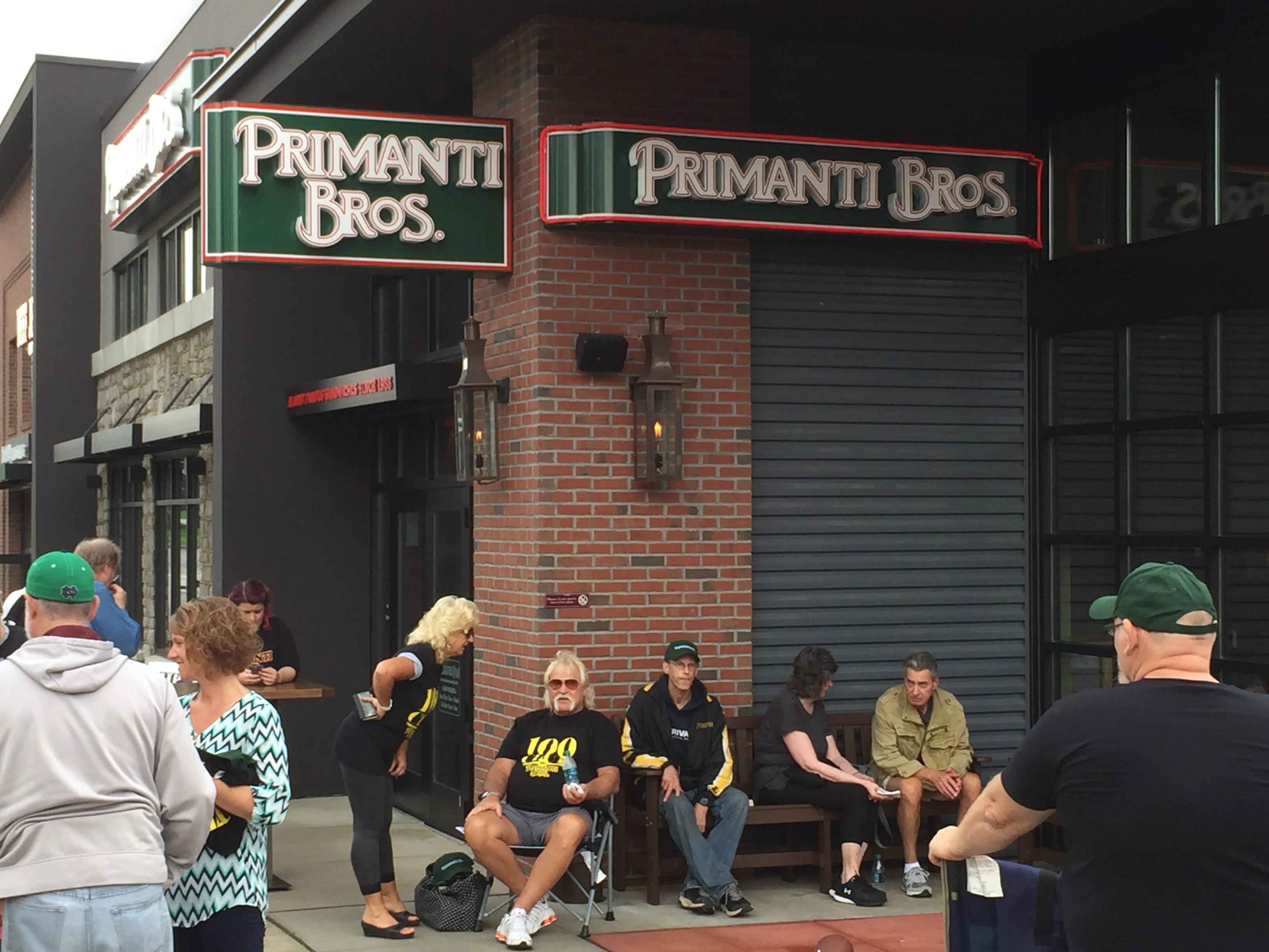 100 lucky customers won free Primanti Bros. for a year after camping out for the restaurant's grand opening on Wednesday, Sept. 26.