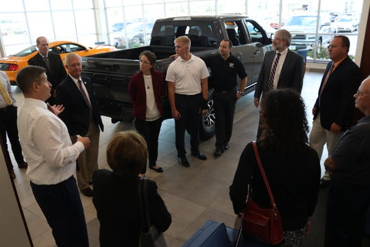 Paolo DeMaria, Ohio's superintendent of public instruction, visited with Ottawa County school officials at Baumann Ford Genoa as he checked out the local CEO Internship Program.