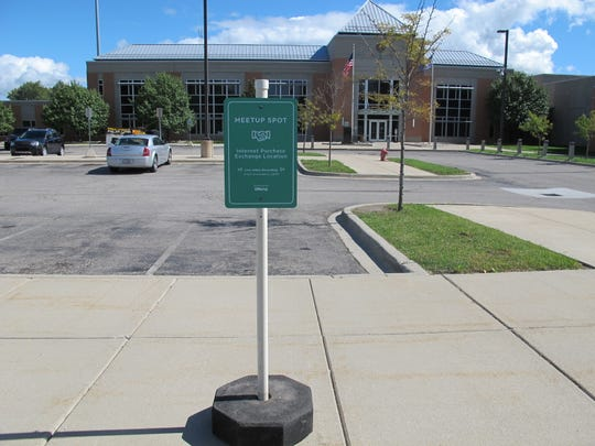 A new Meetup Spot sign was installed at the St. Clair County Sheriff Department parking lot Wednesday.
