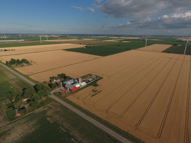 A photo taken by a drone shows farm fields in  the Thumb.