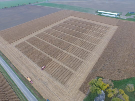 A photo taken from a drone shows a harvest operation.