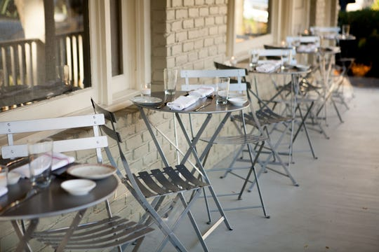 On a warm fall day, there is outdoor seating at Market Street in Rhinebeck.