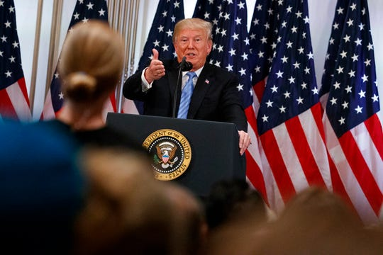 President Donald Trump speaks during a news conference at the Lotte New York Palace hotel during the United Nations General Assembly, Wednesday, Sept. 26, 2018, in New York. (AP Photo/Evan Vucci)