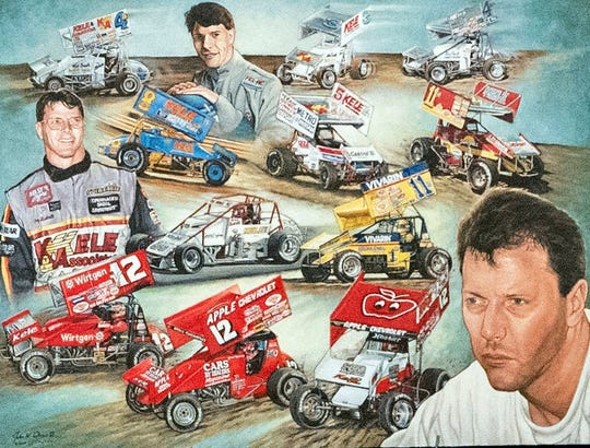 A hand-drawn collage of Greg Hodnett sits on stage during his funeral on Wednesday, September 26, 2018. Hodnett, a local racing legend, died on September 20 at BAPS Motor Speedway.