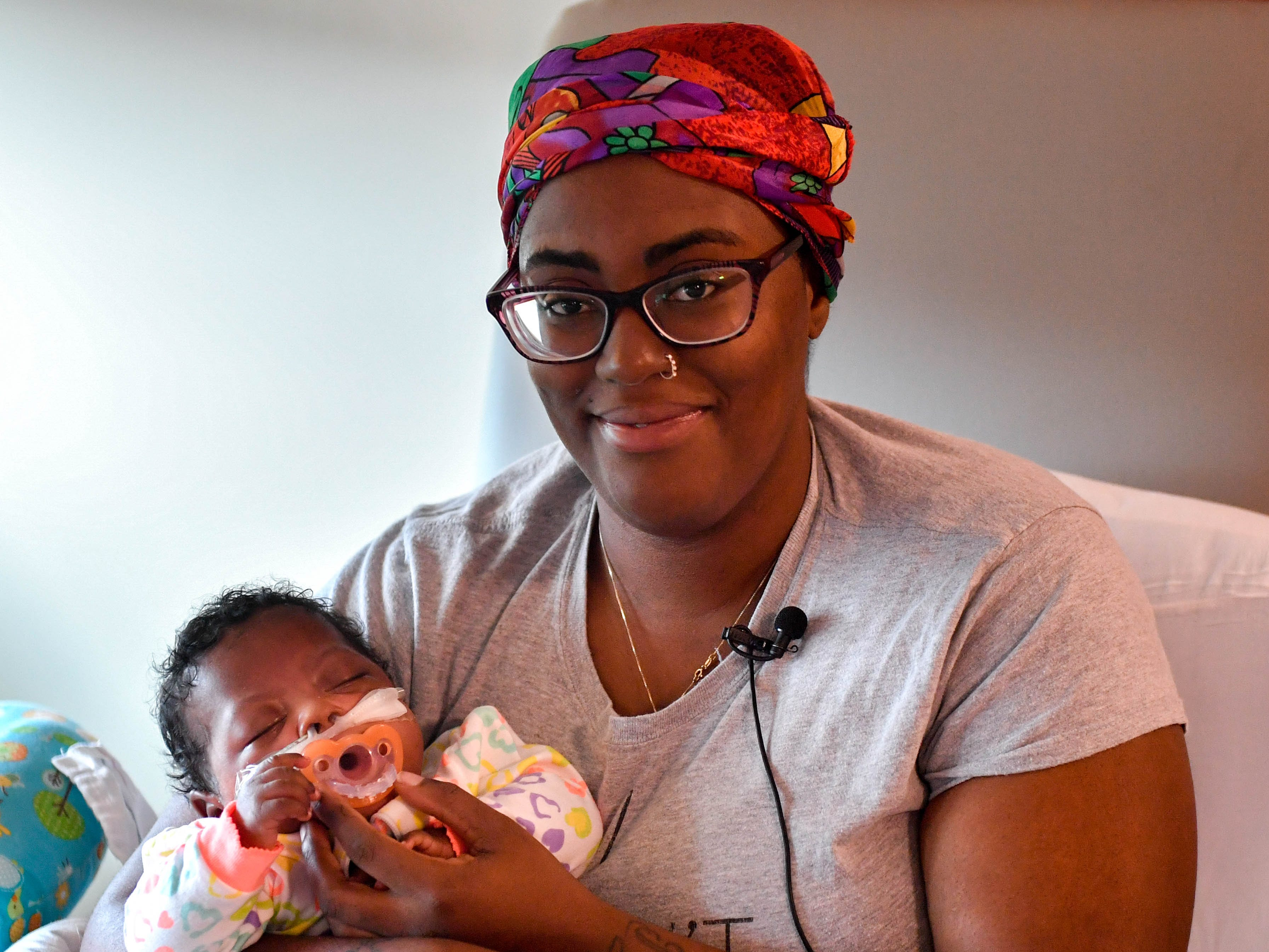 Angelina Hall spends time with her baby, U'Nyizàh Jay'myia Hall, in the NICU at WellSpan York Hospital.
