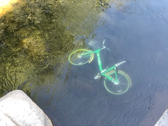 A Lime Bike was thrown into the Truckee River in Reno.