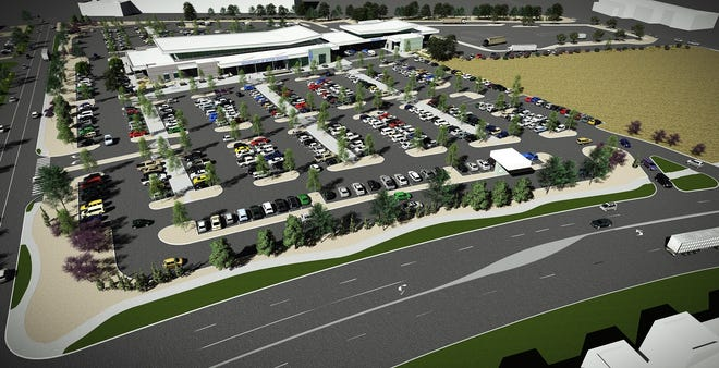 A rendering shows a bird's-eye view of the future Nevada DMV planned to open in 2020 in South Reno.