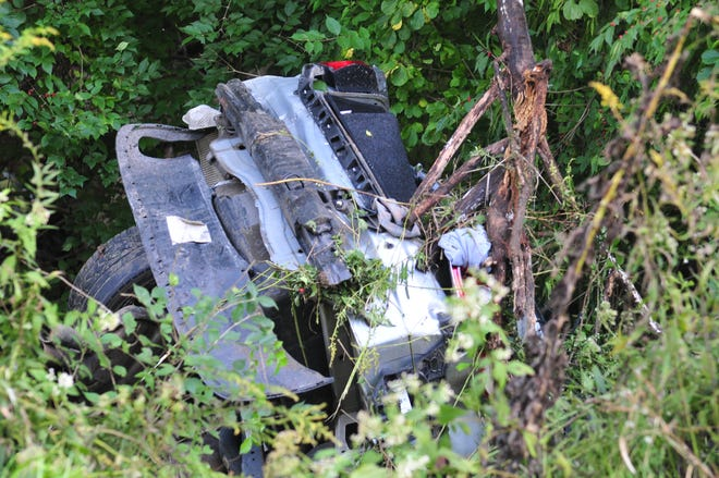 A car was split in two during a single-vehicle fatal accident Wednesday on Potter Shop Road just east of Creek Road.