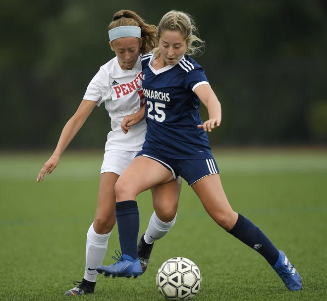 Mercy's Dori Rizzo, right, shields the ball from Penfield's Nicki Barlow Wednesday. Rizzo scored the game's only goal.