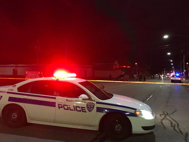 Rochester police close down a section of Lyell Avenue after a pedestrian was struck and killed Tuesday.