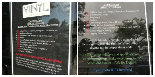 The dress code sign posted at Vinyl NIghtclub changed between Sept. 18, left, and Sept. 24, 2018.