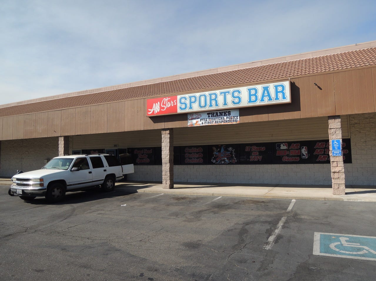 Entrance to All Stars Sports Bar in the Cobblestone Court shopping center at Hartnell and Parkview in east Redding.