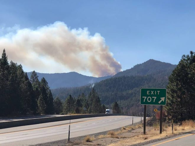 A spot fire near the Delta Fire north of  Lake Shasta is putting up smoke that can be seen for miles.