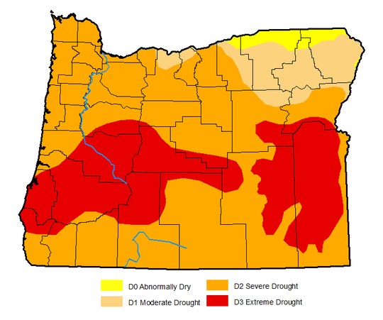 Drought levels across Oregon as of September 18.
