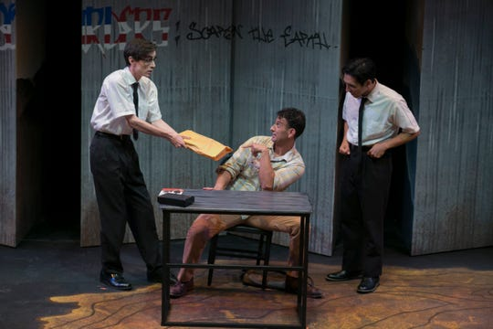 """From left to right, actors Jack Clifford, Adrian Torres and Gabriel Alvizo pictured in an early scene of """"American Night: The Ballad of Juan Jose."""""""
