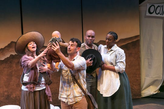 "From left to right, actors DeAnna Diaz, Adrian Torres, Terrance Smith and Denisha Ervin pictured in ""American Night: The Ballad of Juan Jose"" performing a scene about real-life nurse, Viola Pettus."