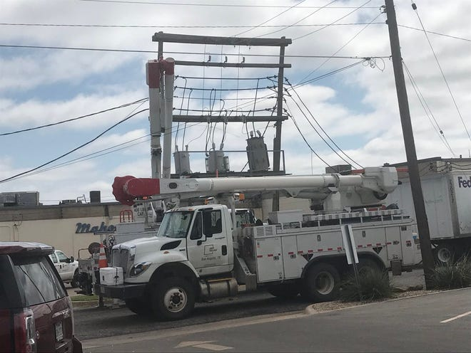 A FedEx truck driver said electric lines caught on his truck when he pulled out of a parking lot in the 2200 block of Beauregard Avenue on Thursday, Sept. 26, 2018.
