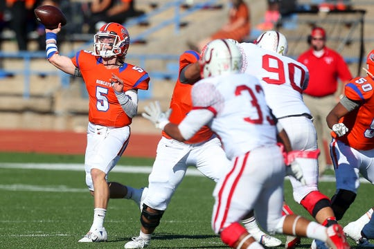 Central High School's Braden Hucks looks to throw the ball during a District 3-6A game against Odessa High in 2014 at San Angelo Stadium.