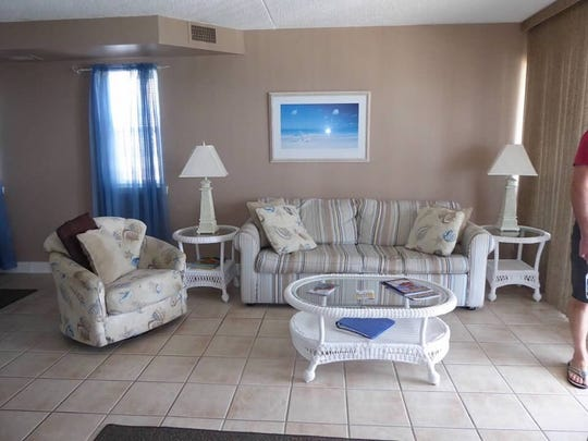 "The living room of the Jancosko family's new Ocean City home featured on HGTV's ""Beachfront Bargain Hunt."" Courtesy of Angela Jancosko."