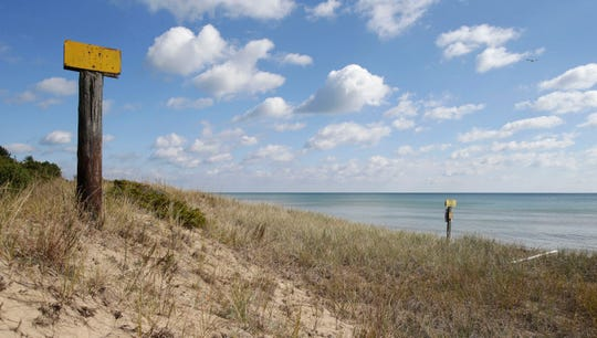 Rolling sand dunes line Lake Michigan at Kohler-Andrae State Park in Sheboygan.