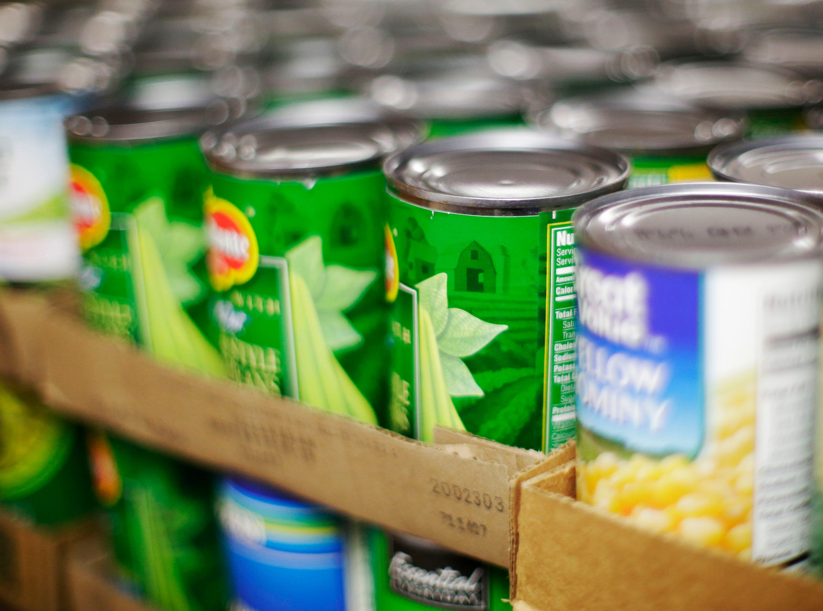 Sheboygan Salvation Army food pantry canned goods as seen Sept. 20, 2018, in Sheboygan, Wis.