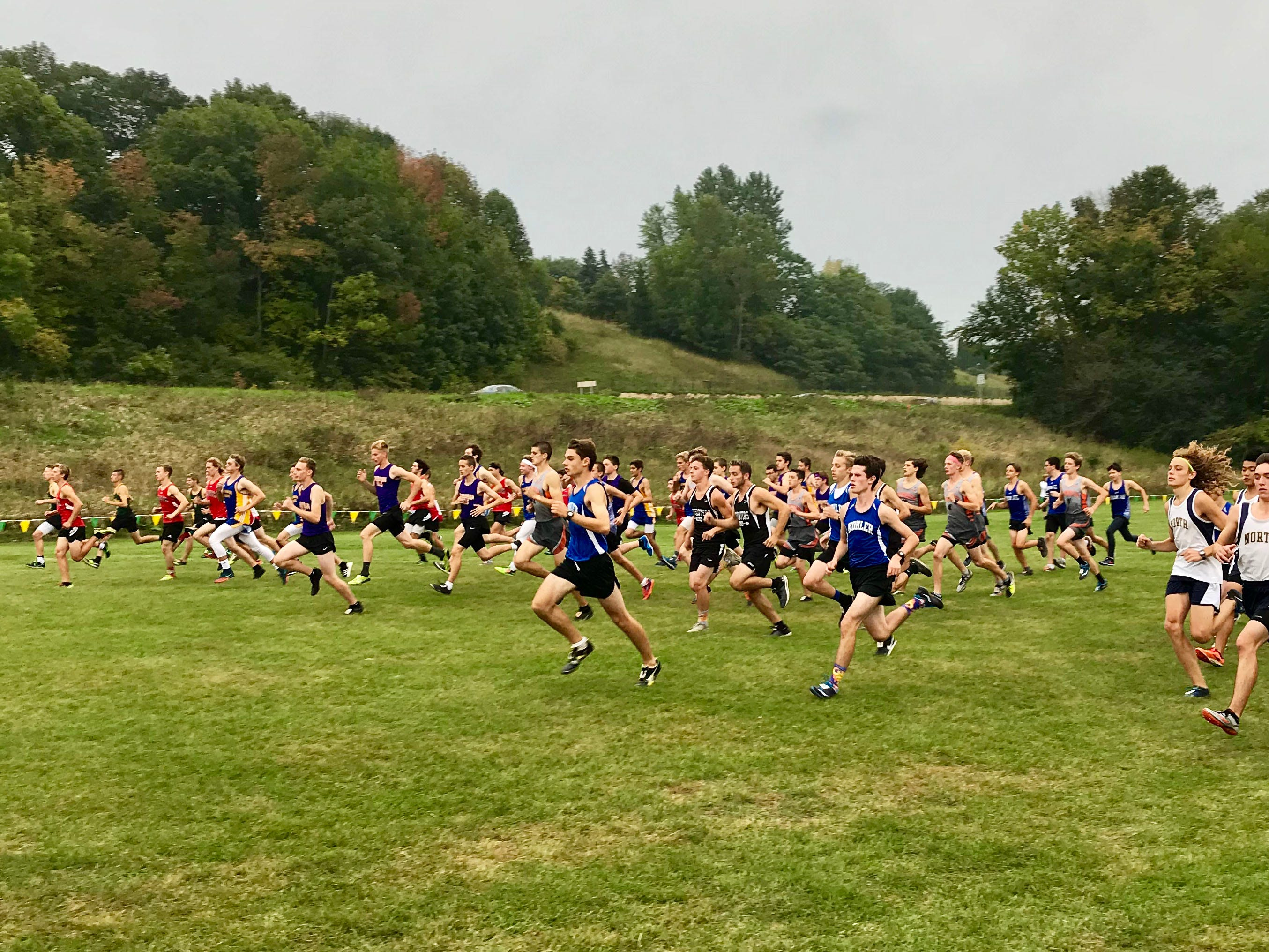 The start of the varsity boys portion of the Sheboygan County Cross Country Invitational, Tuesday, September 25, 2018, in Sheboygan, Wis.