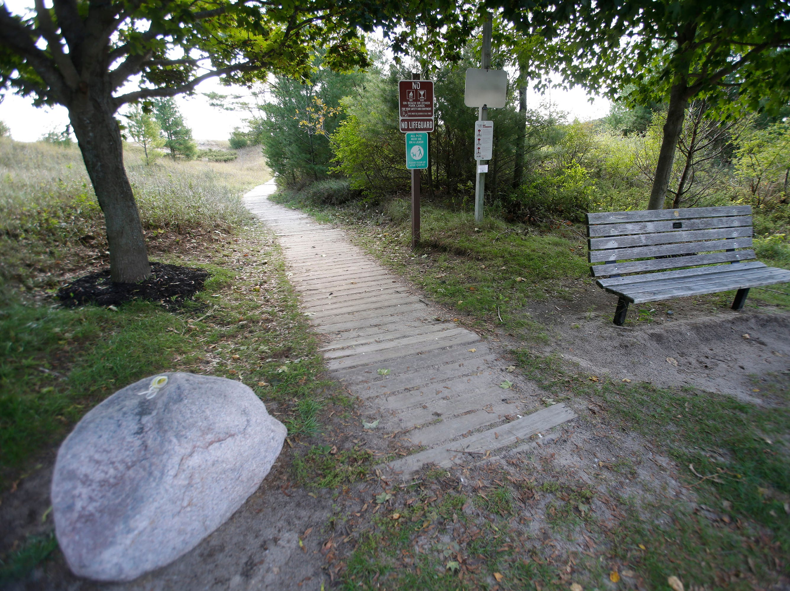 A plank path to the north beach shore at Kohler-Andrae State Park, Wednesday September 26, 2018, in Sheboygan, Wis.