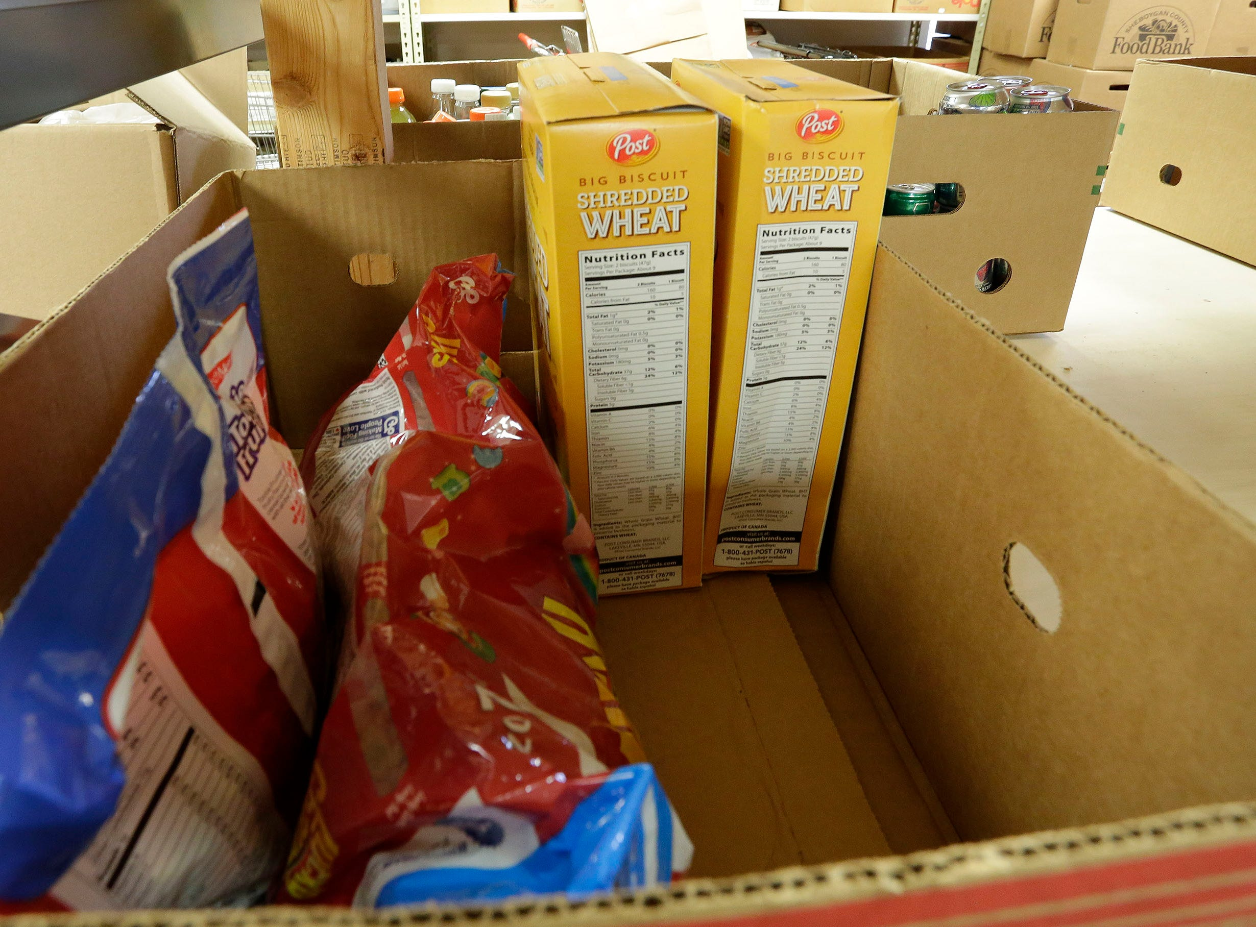 Dry goods at the Salvation Army Food Pantry as seen, Thursday, September 20, 2018, in Sheboygan, Wis.
