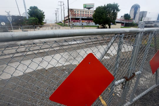 "The portion of Lake Street from Commerce Street to the Sci-Port Discovery Center was closed following a City Council vote in November 2014 to install crossing arms and other improvements that would make a railroad crossing in that section of street a ""no-blow"" zone."