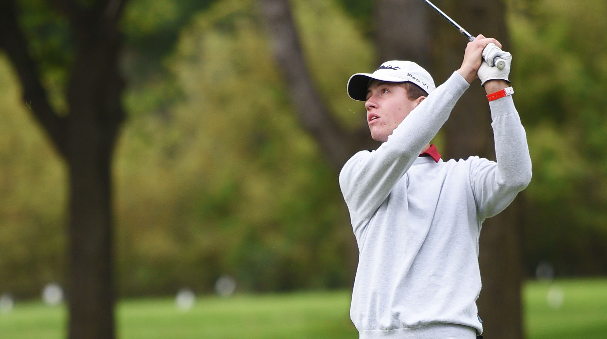 Roosevelt's Jack Lundin golfs in the Metro Athletic Conference boys golf championships Wednesday, Sept. 26, at the Brandon Municipal Golf Course in Brandon.