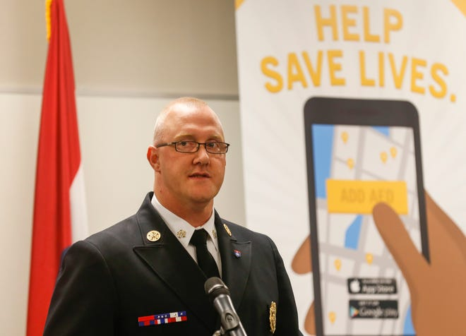 Springfield Fire Chief David Pennington talks about the PulsePoint app during a press conference at the Springfield Regional Police & Fire Training Center on Wednesday, Sep. 26, 2018. The app can alert people trained in CPR of cardiac events near them so they can respond and render aid.