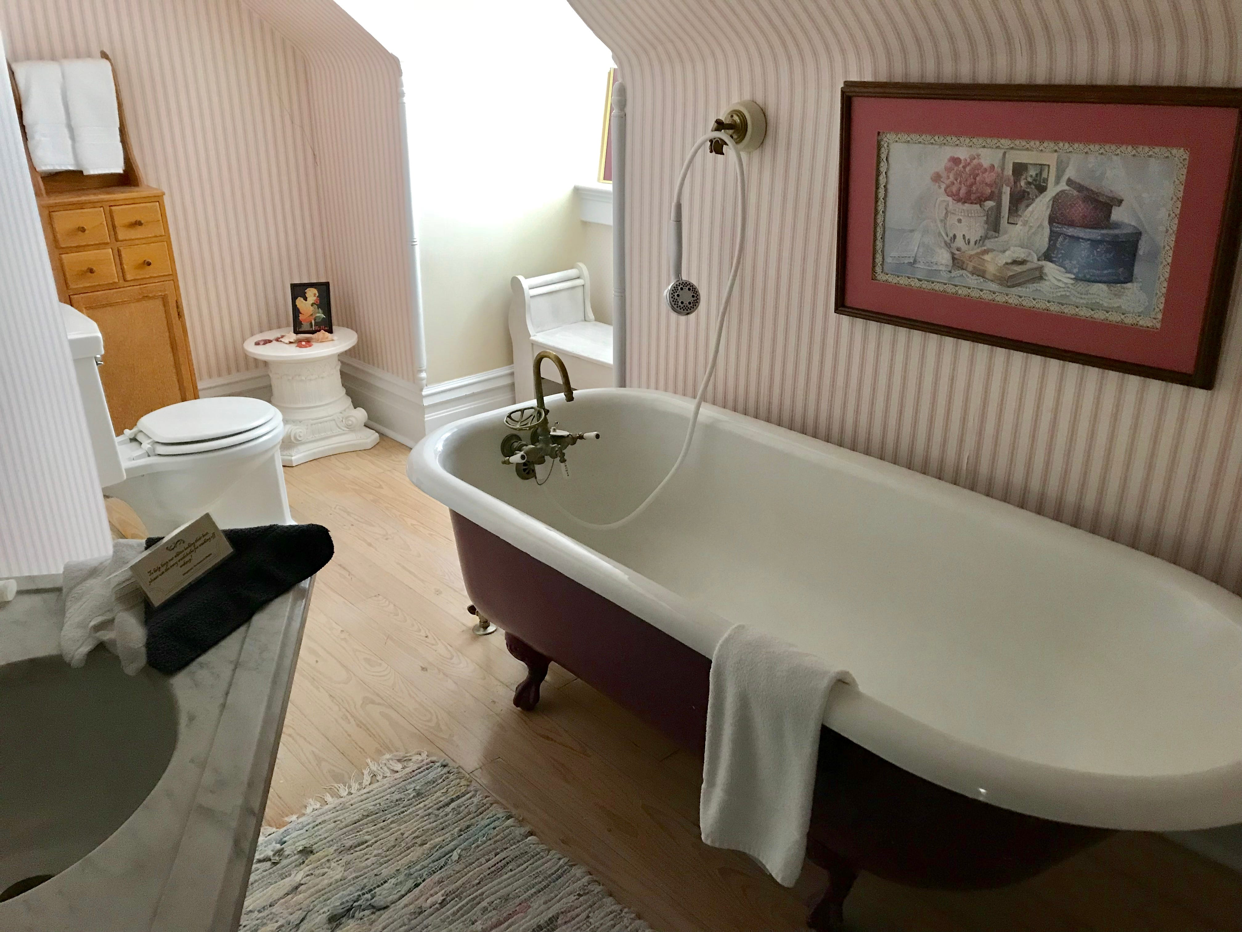 The Elfindale Mansion offers 13 bedrooms. This one has a large bathtub.