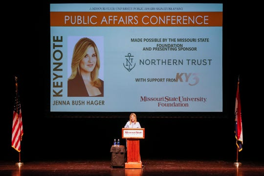 Jenna Bush Hager presents the keynote speech during the Public Affairs Conference at the Juanita K. Hammons Hall for the Performing Arts on Tuesday, Sep. 25, 2018.