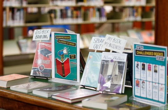 A display of banned books at the Library Center on Tuesday, Sept. 25, 2018.