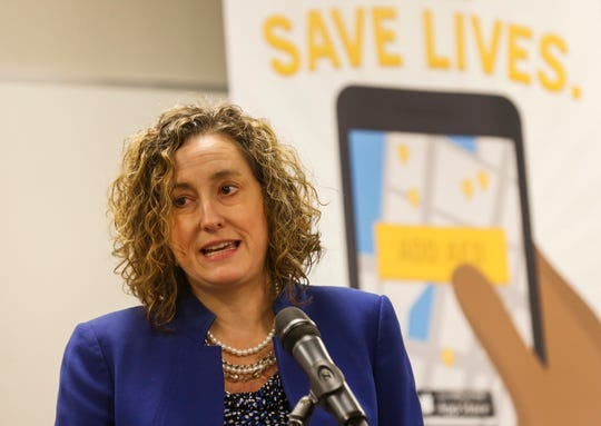 Gretchen Cliburn, a heart attack survivor, talks about the PulsePoint app during a press conference at the Springfield Regional Police & Fire Training Center on Wednesday, Sep. 26, 2018. The app can alert people trained in CPR of cardiac events near them so they can respond and render aid.