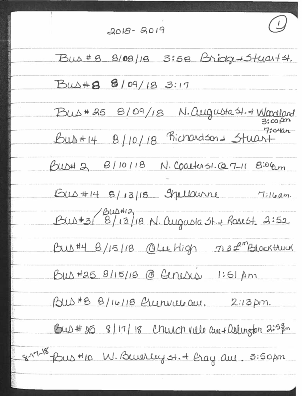 Page 1 of the handwritten log Earl McCray keeps to record verbal reports from school bus drivers of reckless drivers passing by stopped school buses.