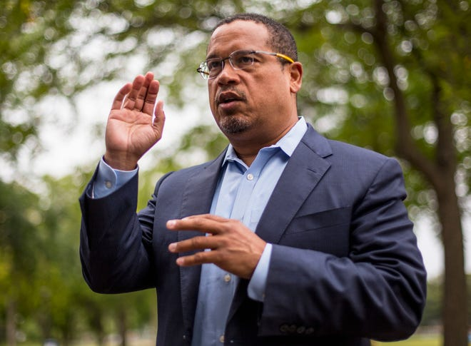In this Aug. 17, 2017, file photo, U.S. Rep. Keith Ellison addresses campaign volunteers and supporters in Minneapolis.