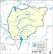 A map of the Little Rock Creek area in Central Minnesota.