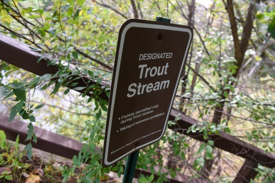 A sign marks Little Rock Creek Wednesday, Sept. 26, near Rice.