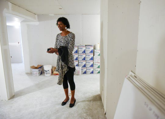CeCe Terlouw, executive director of Terebinth Refuge, show construction at the shelter Wednesday, Sept. 26, to create four bedrooms to house eight more people.