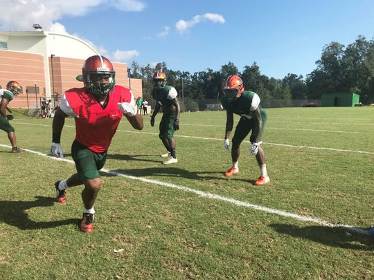 FAMU wide receiver Marcus Williams runs in motion to the right side.