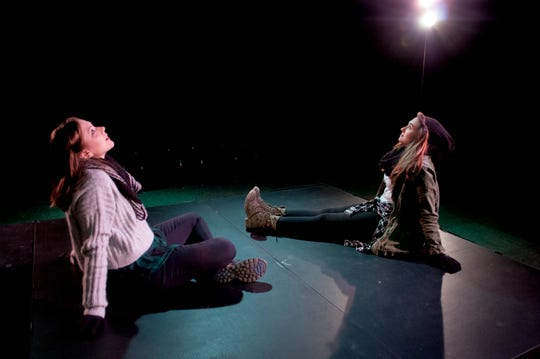 """Deena (Evangeline Ciupek) and Shelly (Elizabeth Cochran) discover that there's more than one way to fall in """"They Fell,"""" part of """"Almost Maine"""" at Theatre Tallahassee."""