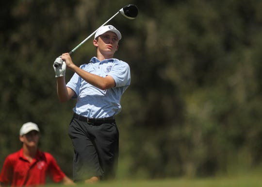 Maclay's Patrick McCann watches a tee shot during Wednesday's Big Bend Championship at Southwood Golf Club.