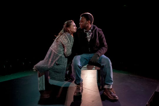 """The prologue of """"Almost Maine,"""" at Theatre Tallahassee featuring Pete (Nardge J. François) and Ginette (Elizabeth Cochran)."""