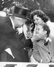 LeRoy Collins and his daughters at his inauguration to be Florida Governor