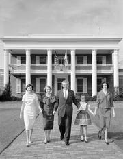 Gov. LeRoy Collins, flanked by his wife and three daughters, poses in front of the governor's mansion in 1960. Collins (1955-1961) and William Bloxham (1881-1885, 1897-1901) are the only Leon County natives ever elected governor.