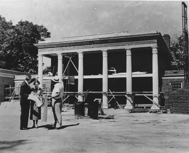 Gov. LeRoy Collins and his wife check out the Governor's Mansion during its construction in June of 1956.