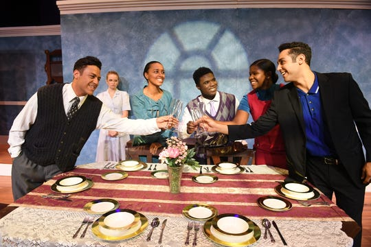 """Black and Latino actors put a different spin on WASP-y society when they play more than 50 different characters in the Pulitzer Prize-nominated play """"The Dining Room"""" at TheaterTCC."""